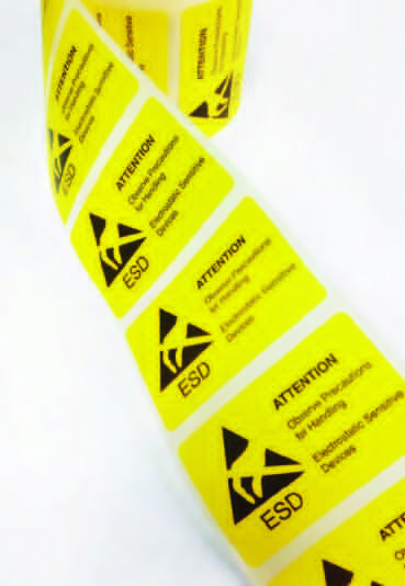 WARNING-INFORMATION LABELS FOR CLOSING ESD PACKAGING